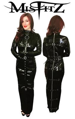 misfitz black gloss pvc straitjacket hobble dress